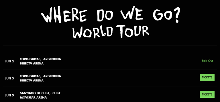 Site oficial de Billie Eilish, que mostra as datas na Argentina em junho como as próximas de sua turnê. Brasil não aparece mais na lista.
