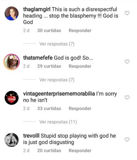 montero e god is a woman são músicas que irritaram grupos conservadores. A foto é um print de vários comentários criticando a música de Ariana Grande pelo instagram