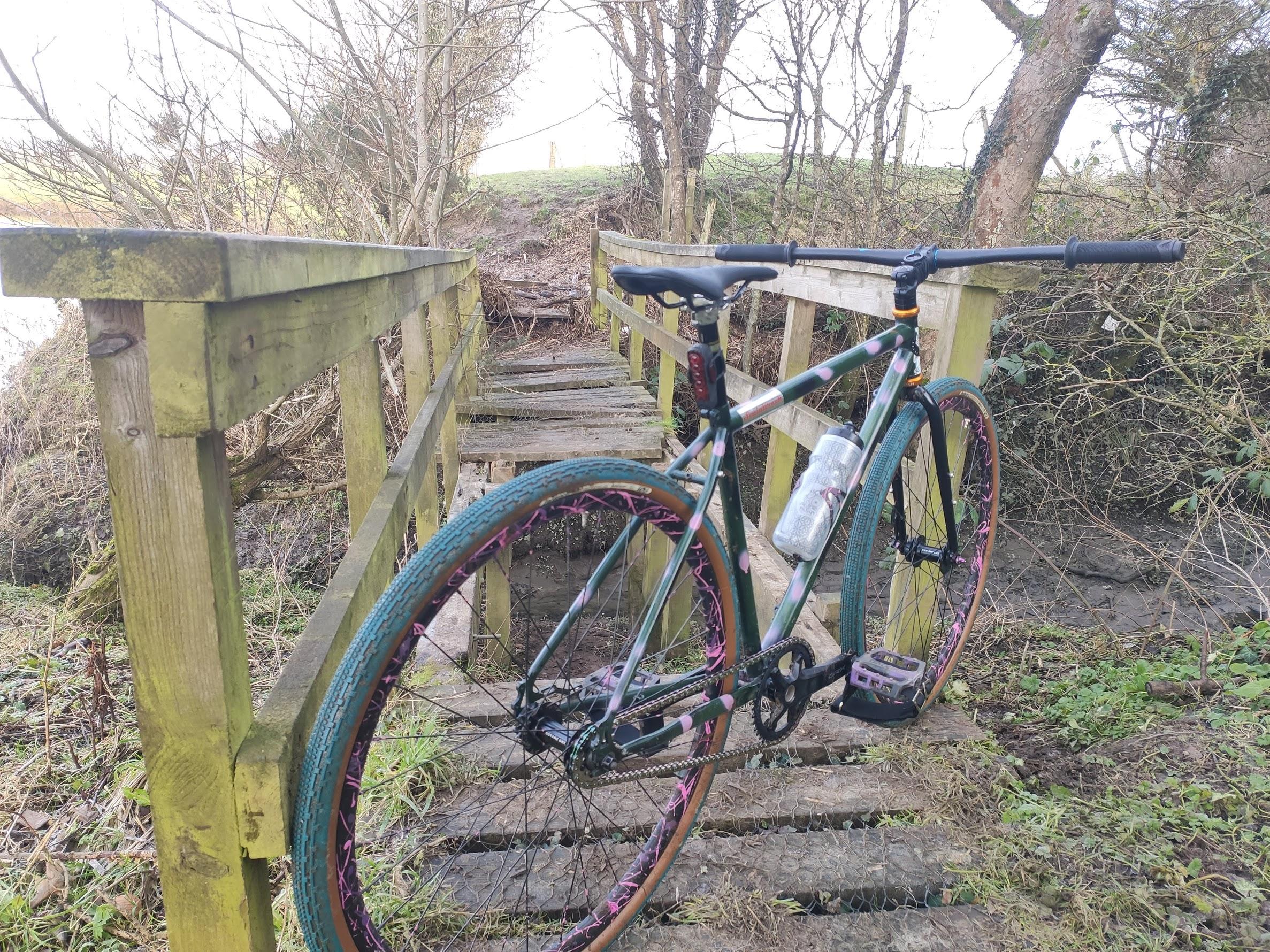 tracklocross bike on broken bridge