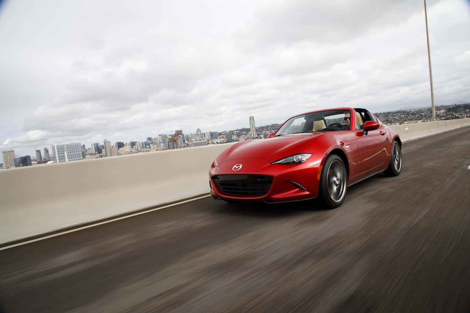 2017 Mazda MX-5 RF review rolling front red