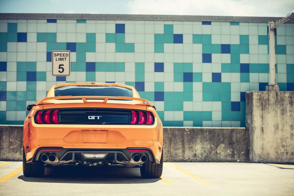 2018 ford mustang gt review rear head on view