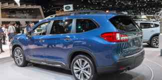 2019 subaru ascent blue rear profile