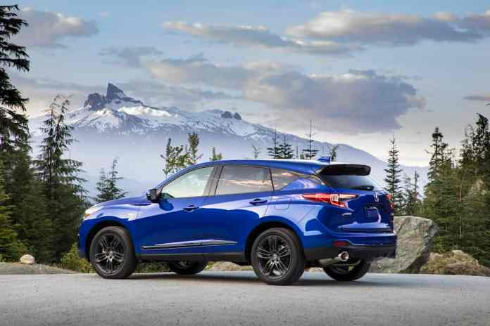 2020 Acura RDX A-Spec rear view in blue mountains