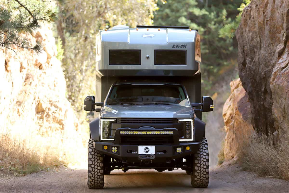 EarthRoamer LTi carbon fiber expedition vehicle front view