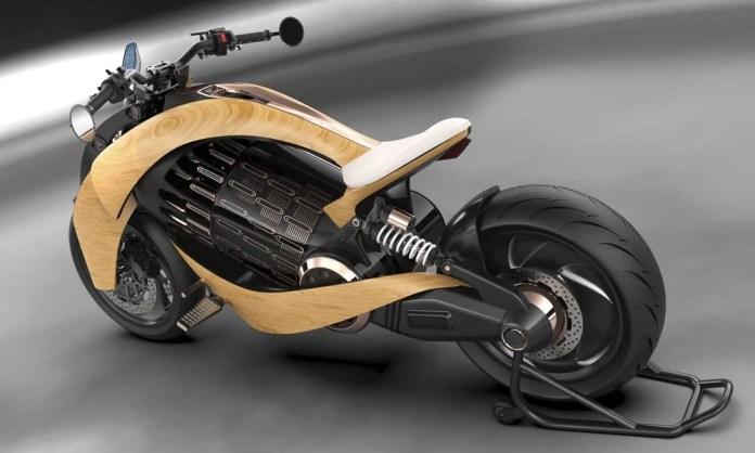 EV-1 Electric Cruiser Motorcycle by Newron Motors top rear view