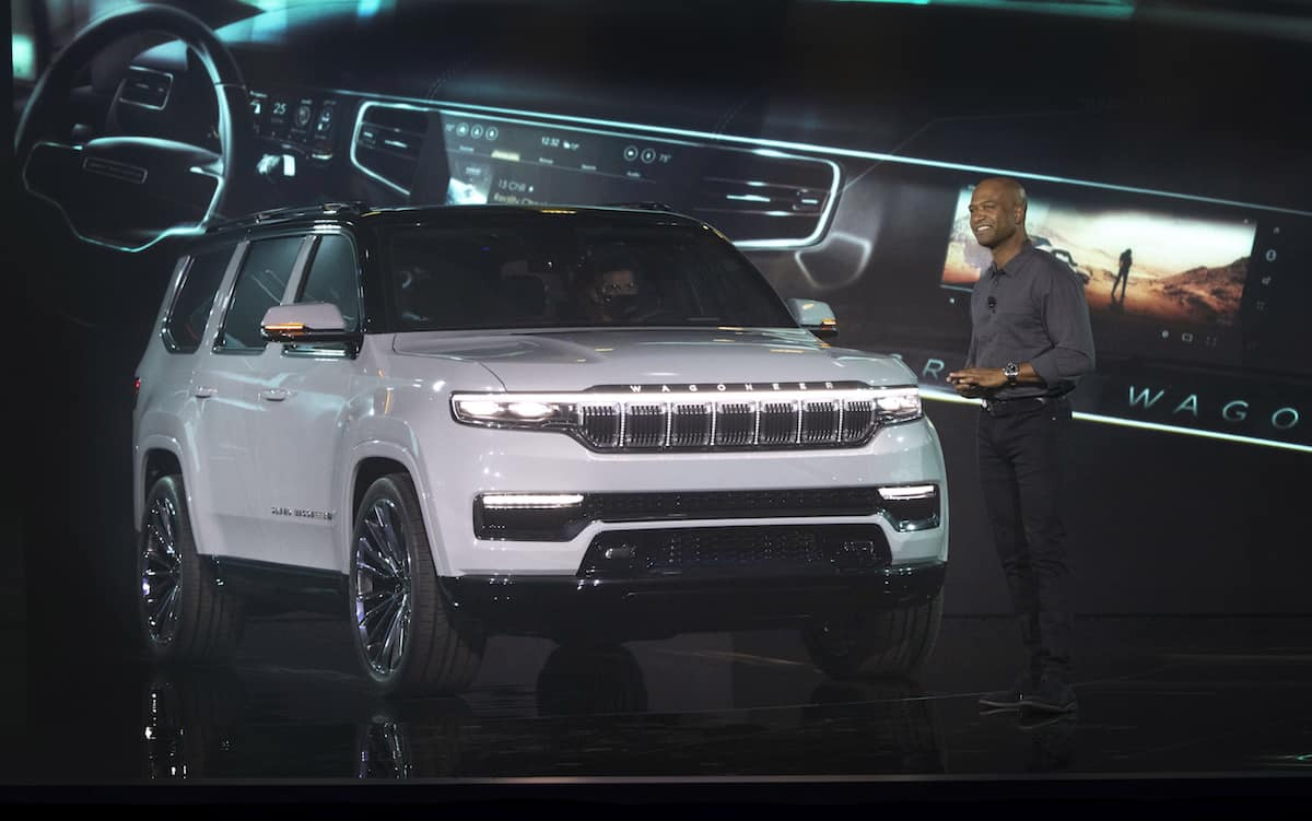 Ralph Gilles, Head of Design – FCA, with the Grand Wagoneer Concept in Detroit. Theall-new Grand Wagoneer Concept marks the rebirth of a classic and premium American icon, providing a vision of what the modern expression of the original ultimate premium SUV can be.