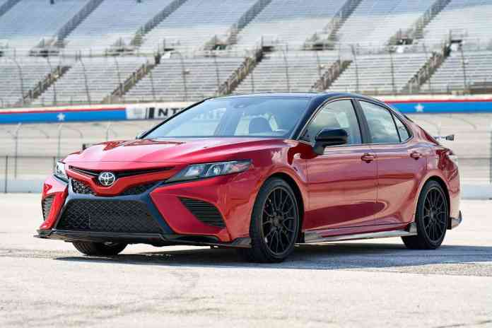camry TRD at nascar track with toyota