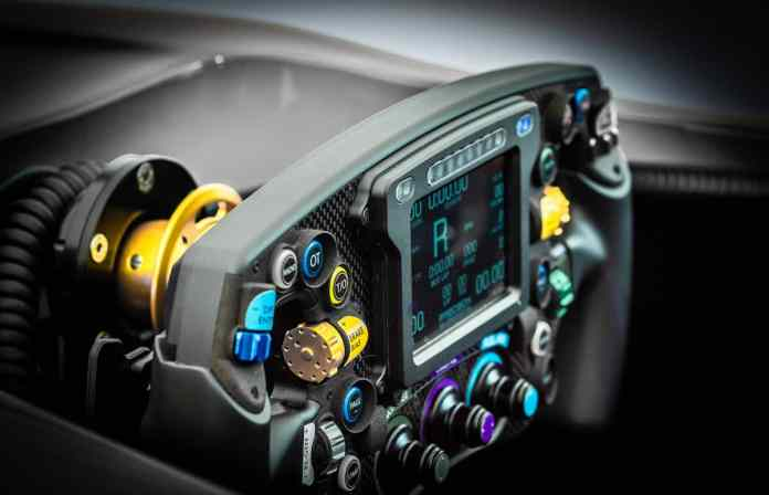 gpx steering wheel for UK-based Cranfield Simulation's Full Motion + G-Force Formula 1 Simulator