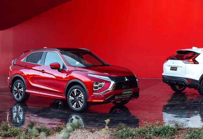 2022 Mitsubishi Eclipse Cross in red next to white