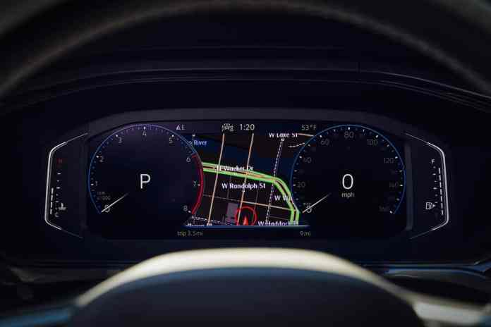 2022 VW Taos compact SUV interior tech and gauges