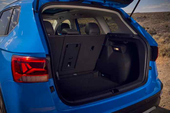 2022 VW Taos compact SUV rear seats back cargo space