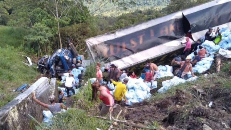 saqueo a camión que volcó en Valdivia