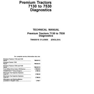 John Deere Premium 7130 - 7530 tractors diagnostics technical manual