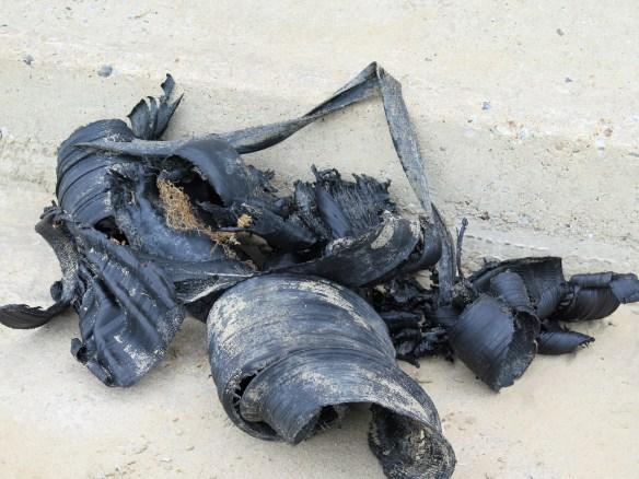 plastic pollution on beach at Winterton-on-Sea