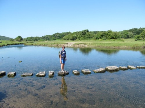 The stepping stones at Ogmore are a long way up river