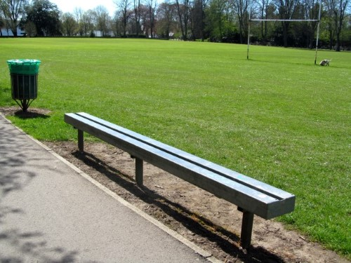 Clean lines for this functional bench at Pontcanna Fields, Cardiff