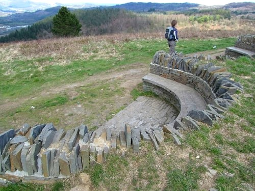 One of the impressive stone benches on Caerphilly Mountain