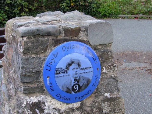 One of the distinctive plaques of the Dylan Thomas Trail