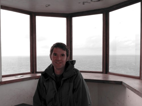 The lookout at Bird Rock provides welcome shelter from the wind