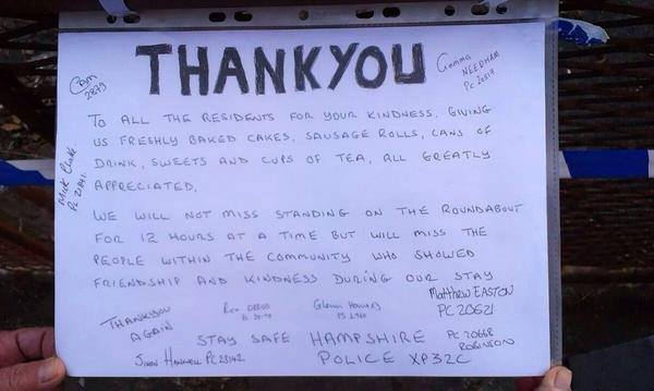 The Thank You note from Hampshire Police