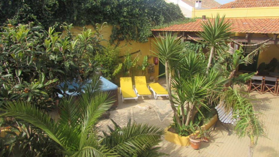 The lush tropical courtyard at Casa Mestre