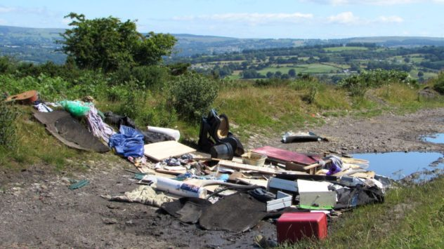 Fly-tipping on Mynydd Dimllaith, Rhymney Valley, Caerphilly, South East Wales