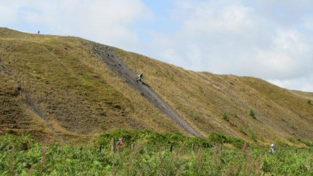 Motorcyclists, motorbike stunts, Mynydd Machen, Sirhowy Valley Walk, Caerphilly