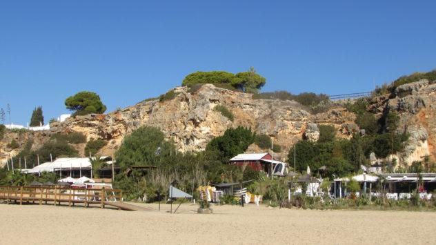 Beach bars, Ferragudo, Algarve, Portugal