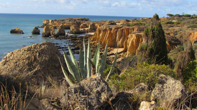Sandstone cliffs, near Gale, Albufeira, Algarve, Portugal
