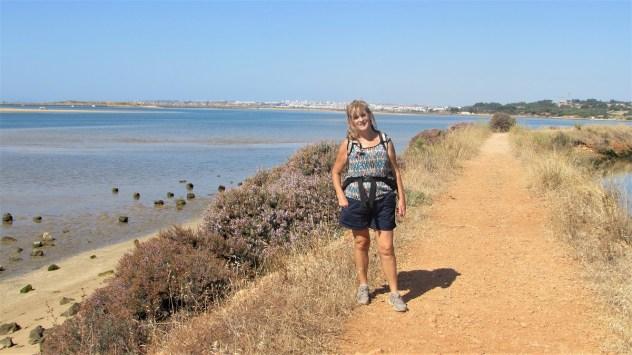 Crossing the dyke, PR1 A Rocha Delicada, Rio de Alvor, Western Algarve, Portugal