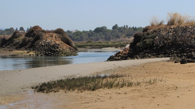 Breach of dyke, PR1 A Rocha Delicada, Rio de Alvor, Western Algarve, Portugal