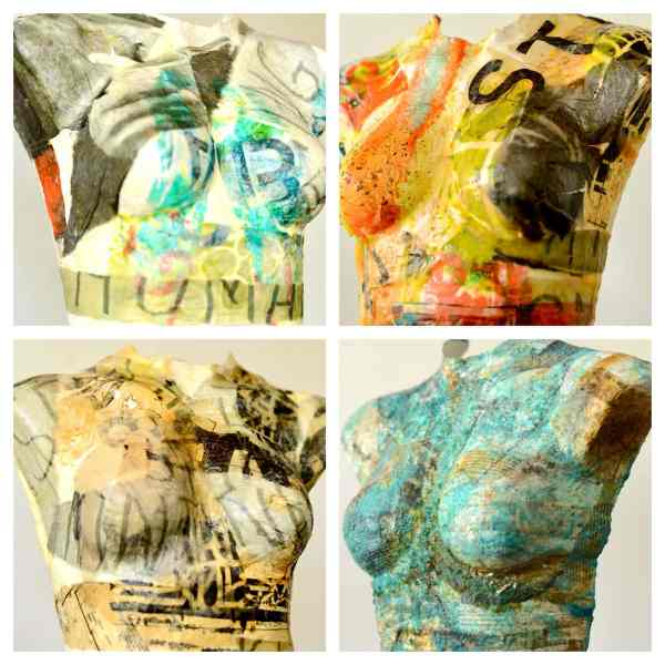 Pendleton Art Center, busts, female form, collage, encaustic