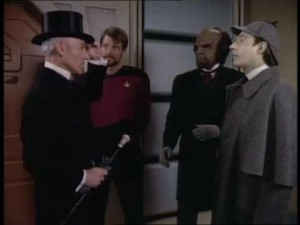 Brent Spiner playing Data playing Sherlock Holmes in Star Trek - The Next Generation""