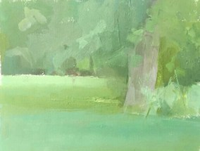 oil painting if tree in green meadow