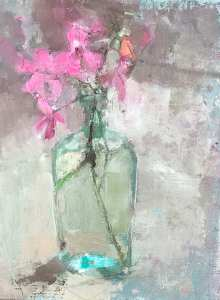 oil painting of pink geranium in antique bottle