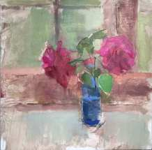 oil painting of two red roses in blue jar