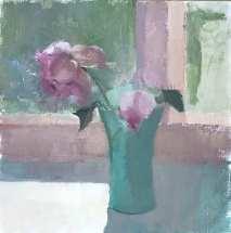 oil painting of pink rose in green jadite vase