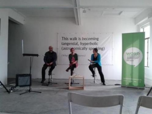 John Chrisstoffels, Tracy Farr and Lynn Freeman at The Physics Room. Photo: @ChristchurchLib via Twitter