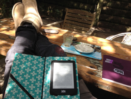 The author, in uggies, takes a reading break.