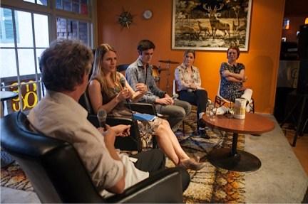 Steve Braunias, Alice Miller, Sebastian Hampson, Caoilinn Hughes and me. NZ Writers Week, First Published session. Photo: New Zealand Festival Image – Pauline Lévêque