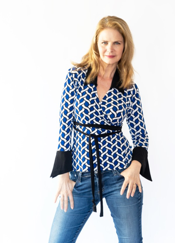 Tracy Gold Collection electric blue wrap top