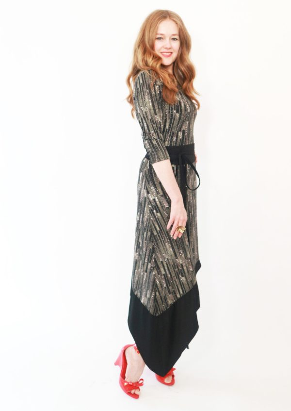 Tracy Gold collection shimmer asymmetrical dress 1