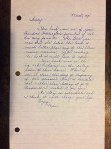 Magnificent Obsession letter