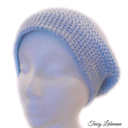 Slouchy Beanie Hat, Sky Blue