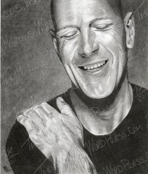 Bruce Willis, Graphite on Paper, 7.75x9.25 in, 2010