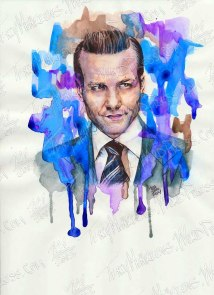 Gabriel Macht as Harvey Spector, Watercolor & Ink on Paper, 9x12 in, 2014