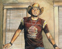 Jason Aldean, Watercolor Pencil on Paper, 10x8 in, 2014 - SOLD