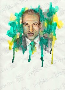 Rick Hoffman as Louis Litt, Watercolor & Ink on Paper, 9x12 in, 2014
