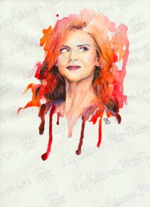 Sarah Rafferty as Donna Paulsen, Watercolor & Ink on Paper, 9x12 in, 2014
