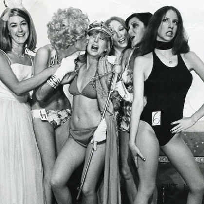 Group photo six women doing a sketch at The Groundlings 1974 including Tracy and Laraine Newman